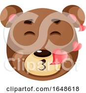 Cute Brown Bear Is In Love Illustration Vector On White Background