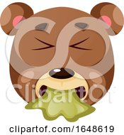 Brown Bear Is Feeling A Little Bit Sick Illustration Vector On White Background
