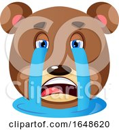 Grizzly Bear Crying His Eyeballs Out Illustration Vector On White Background by Morphart Creations