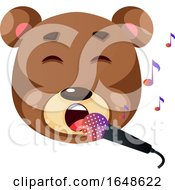 Cute Brown Bear Singing Karaoke Illustration Vector On White Background by Morphart Creations
