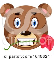Poster, Art Print Of Bear Is Holding Rose In His Mouth Illustration Vector On White Background