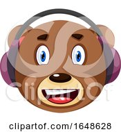 Bear With Purple Headphones On Illustration Vector On White Background
