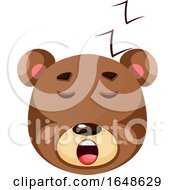 Brown Grizzly Bear Sleeping Illustration Vector On White Background