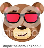 Bear Is Wearing Sunglasses Illustration Vector On White Background