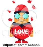 Poster, Art Print Of Man In Love Holding Heart