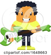 Man Holding Green Guitar
