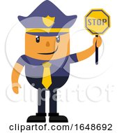 Police Officer Holding Stop Sign