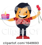 Poster, Art Print Of Romantic Man With Cake And Roses