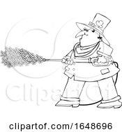 Cartoon Black And White Leprechaun Pressure Washing With Shamrocks