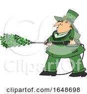 Cartoon Leprechaun Pressure Washing With Shamrocks