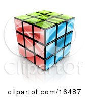 Colorful Green Red And Blue Cube Clipart Illustration Graphic