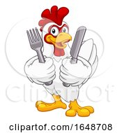 Poster, Art Print Of Chicken Rooster Cockerel Knife And Fork Cartoon