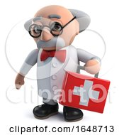 Crazy Mad Scientist Plays At Being Doctor By Carrying First Aid Kit