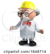 Mad Scientist Wearing A Hard Hat To Protect His Vast Brain