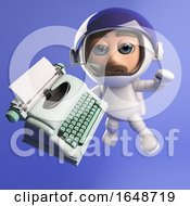 3d Astronaut With A Typewriter