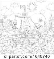 Poster, Art Print Of Black And White Kids Playing On A Ship