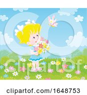 Little Girl Holding Flowers And Watching A Butterfly