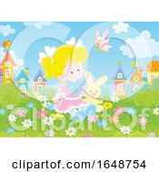 Little Girl Sitting In A Garden With A Stuffed Bunny