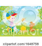 Poster, Art Print Of Little Boy And Puppy Around A Camp Fire
