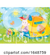 Poster, Art Print Of Little Boy Camping With His Puppy