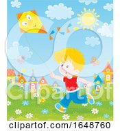 Poster, Art Print Of Little Boy Flying A Kite