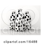 Three Milk Containers With A Black And White Cow Pattern