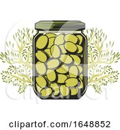 Jar Of Green Olives And Tree Branches