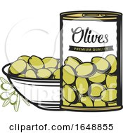 Jar And Bowl Of Green Olives by Vector Tradition SM