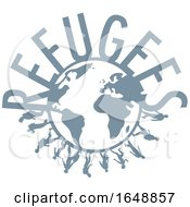 Poster, Art Print Of Silhouetted Immigrants And Refugees Text Around A Globe