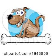 Cartoon Happy Dog Sitting On A Bone