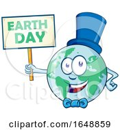 Cartoon Happy Earth Mascot Wearing A Hat And Bow And Holding A Sign