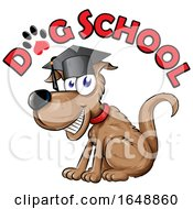 Cartoon Happy Dog Graduate Under Text