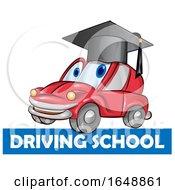 Car Mascot Wearing A Graduation Cap Over A Driving School Banner