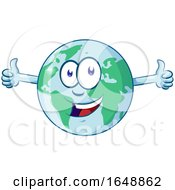 Cartoon Happy Earth Mascot Giving Two Thumbs Up