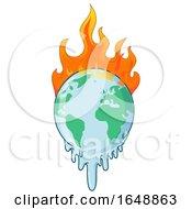 Cartoon Burning And Melting Earth