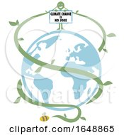 Poster, Art Print Of Green Vine Person Holding A Climate Change Is No Joke Sign Over Earth And A Bee