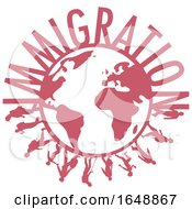 Silhouetted Immigrants Around A Globe
