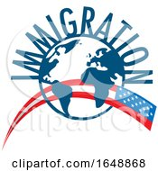 Immigration Globe With An American Flag by Domenico Condello