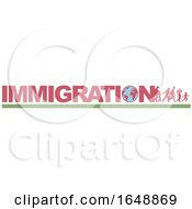Poster, Art Print Of Silhouetted Immigrants And Text With A Globe