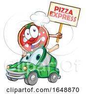 Cartoon Pizza Mascot Holding An Express Sign Over A Car