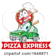 Cartoon Pizza Mascot And Car Over An Express Banner