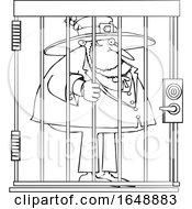 Poster, Art Print Of Cartoon Black And White Leprechaun In Jail