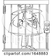 Cartoon Black And White Leprechaun In Jail