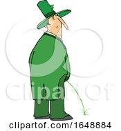 Poster, Art Print Of Cartoon Leprechaun Peeing