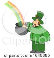 Cartoon Leprechaun Catching A Rainbow In A Pot