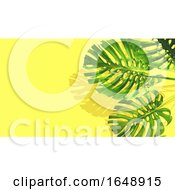3D Banana Plant Leaves On Yellow Background