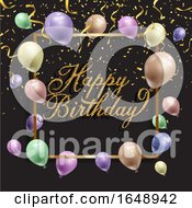 Birthday Background With Balloons And Confetti