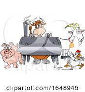 Cow Pig Goat And Chicken By A Bbq Smoker