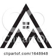 Black And White Letter M House Mountain Icon
