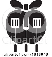 Black And White Apple With BBQ Utensils